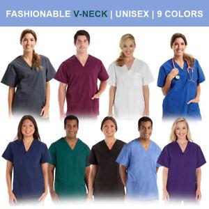 Unisex-Men-Women-Medical-Hospital-Nursing-Scrub-Top-V-Neck-Uniform-9-Colors