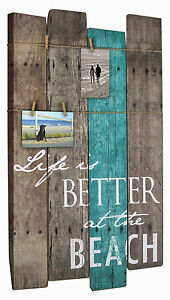 WALL ART - LIFE IS BETTER AT THE BEACH SIGN & PHOTO HOLDER - WALL PLAQUE