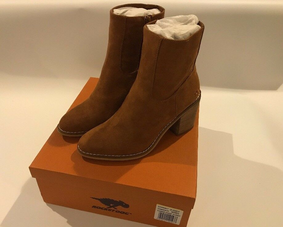 Rocket Dog Womens Suede Cinnamon Dannis Heeled Ankle Boots UK Size 4 EU 37 NEW