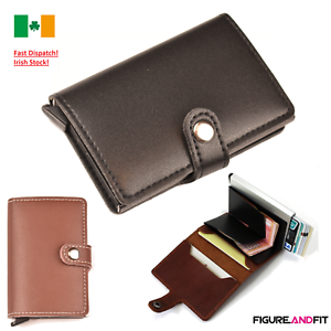 Leather-ID-Credit-Card-Holder-RFID-Wallet-Pop-Up-Cash-Holder-Purse-Slider-Metal
