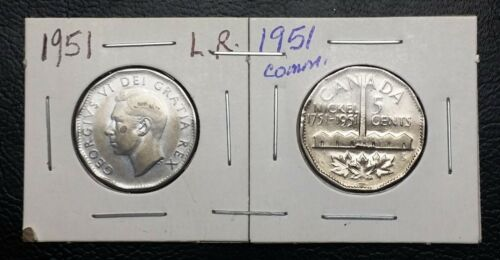 Set of 2 Canada 5 Cent Nickels 1951 Commemorative /& 1951 Low Relief