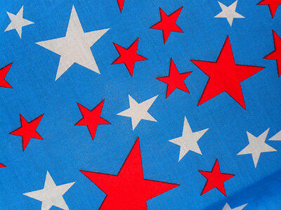 Blue Red White Carnival Stars Fabric Material POLY COTTON Crafts Quilting Sewing