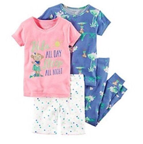 Carter/'s Toddler Girls 4 PC Sleep Set Tee Shirt Pajama Shorts New