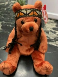 Ty Beanie Baby Little Feather - MWMT (Bear Indian 2003) Thanksgiving Fall