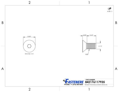 "4-40 x 1//4/"" Flat Head Socket Cap Screws Allen Drive Stainless Steel Qty 500"