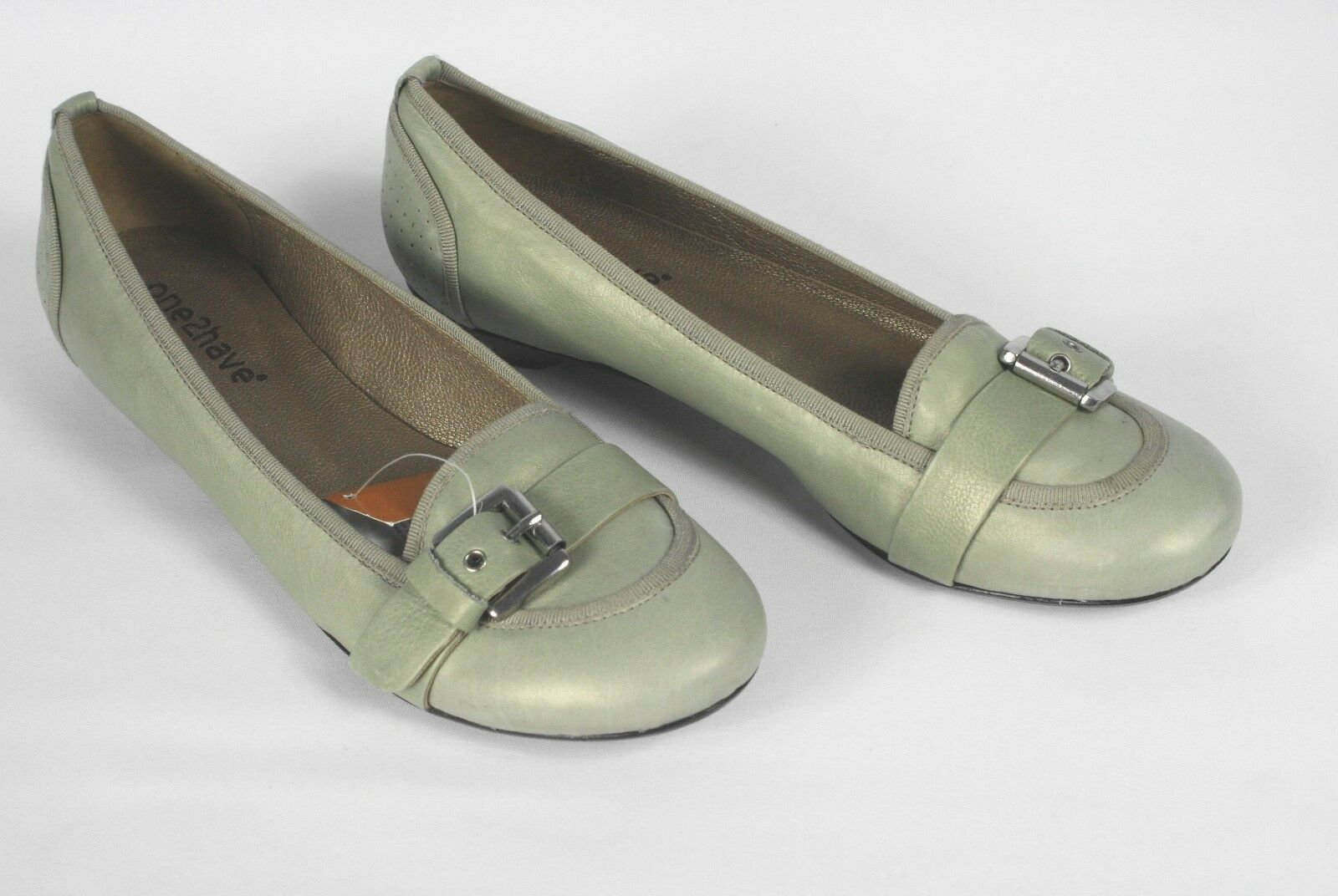 Loafer / Halbschuh grau-grün mit SchnalleGr. 40 1/2 Echtleder one2have