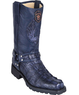 Los Altos Genuine NAVY Caiman Crocodile Tail Motorcycle Boots Square Toe Biker D