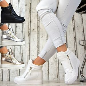 luxus designer wedges sneaker keilabsatz damen schuhe wei schwarz silber gold. Black Bedroom Furniture Sets. Home Design Ideas