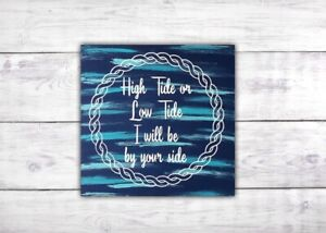 Details About High Tide Or Low Beach Sign Coastal Wall Art Rustic Decor