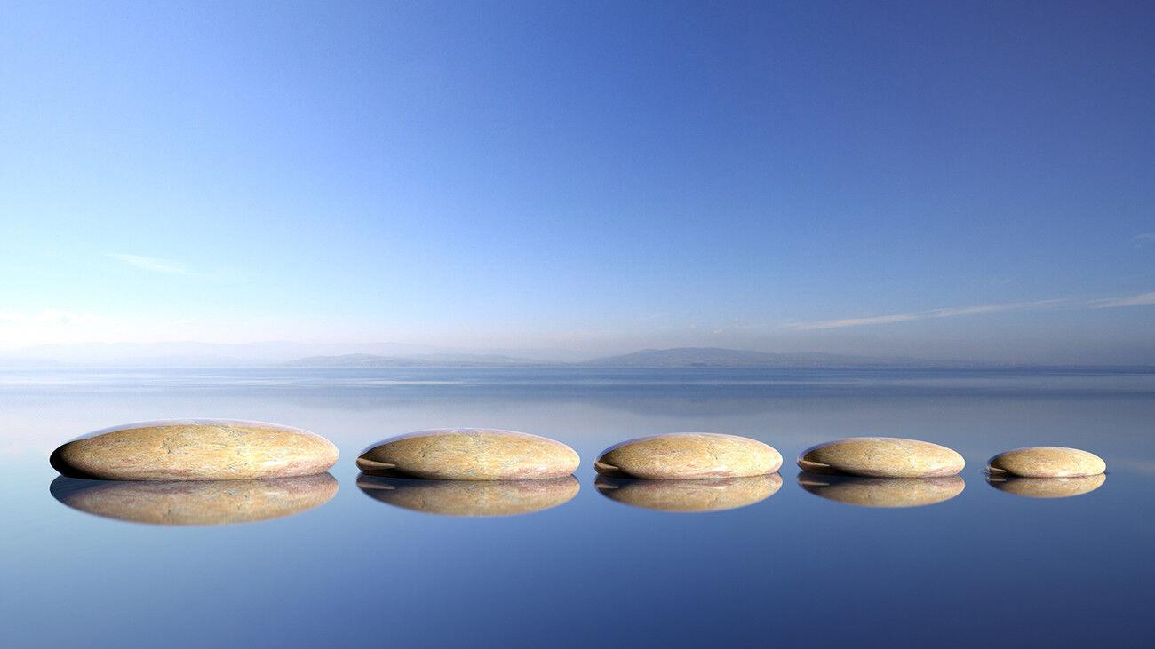 Fototapete Zen Steine Wasser Yoga Wellness - Kleistertapete oder Selbstklebende