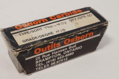 Details about  /10 NOS Osborn Carbide TNU434 Grade H10 Triangular Indexible Carbide Inserts