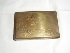 LADIES MELISSA POWDER/MIRROR COMPACT MUSIC BOX GOLD-TONE BIRD THEME