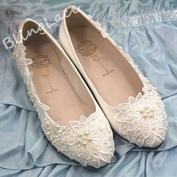Lace bridal pearls wedding shoes high heel low heel flat bridesmaid prom shoes