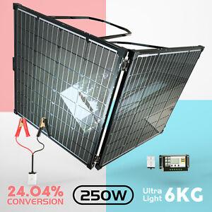 12V 250W Folding Solar Panel Kit 6KG Super Light Mono Portable Camping Battery