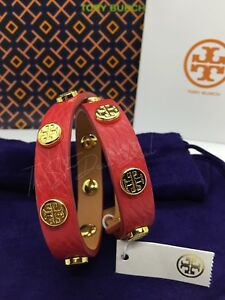 acf2a56bb290 NWT Tory Burch Leather Double Wrap Logo Stud Bracelet w  dust bag ...