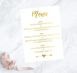 8b81a74930504 Details about CUSTOM gold Wedding Menu Cards / Personalised Menu's for  Wedding Tables Print