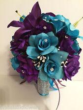 Malibu Wedding Round Bridal Bouquet Package Turquoise Purple Silk Flower 13pc