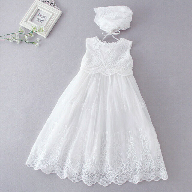 BABY GIRLS  CHRISTENING GOWN WHITE IVORY//CREAM BAPTISM LONG GOWN WITH BONNET