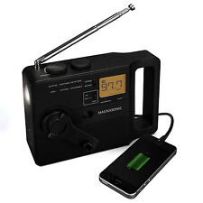 Magnasonic Hand Crank Emergency Radio, LED Flashlight, Smartphone Charger