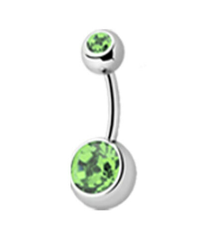 316L Surgical Steel crystal belly bars// navel piercing in a variety of colours