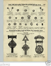 1928 PAPER AD 4 PG Solid Gold Lodge Jewels Masons Past Master's Badges