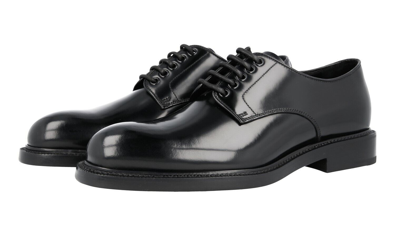AUTH LUXURY PRADA PLAIN TOE DERBY scarpe 2EA072 nero NEW US 8 EU 41 41,5