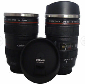 Camera Lens Travel Coffee Thermos Stainless Steel Mug w Drinking Lid Best Gift