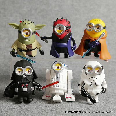 MINIONS & STAR WARS - SET 6 FIGURAS / 6 FIGURES SET 8cm