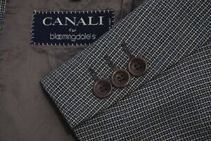 Canali Brown Blue Textured Pure Wool Sport Coat Jacket Sz 44L Made in Italy