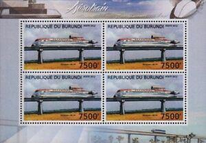 Aerotrain I80 Hv (hovertrain) Experimental Train Stamp Sheet (2012 Burundi)-afficher Le Titre D'origine