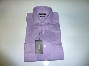 eeceaba5c New HUGO BOSS Sharp Fit Casual Mens Dress Shirt PURPLE Checkered ...
