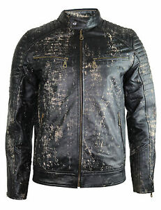 herren retro biker lederjacke motorrad jacke gesteppte schultern mit protektoren ebay. Black Bedroom Furniture Sets. Home Design Ideas