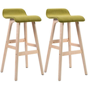 Set Of 2 29 Inch Vintage Wood Bar Stool Dining Chair