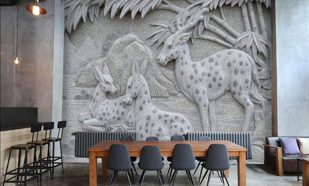 3D Deer forest Relief Wall Paper wall Print Decal Wall Deco Indoor wall Mural