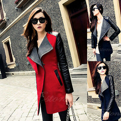 Fashion New Women's PU Leather Sleeve Fit Slim Coat Jacket Parka Trench Overcoat