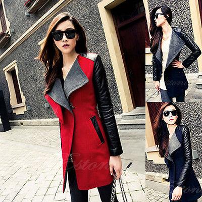 Fashion New Women's PU Leather Sleeve Fit Slim Coat Jacket Parka Trench Overcoat