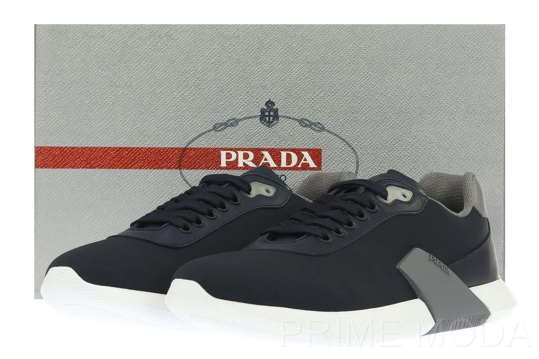 NEW PRADA CURRENT BLUE GRAY LOGO CASUAL SNEAKERS SHOES 7.5/US 8.5 MADE IN ITALY