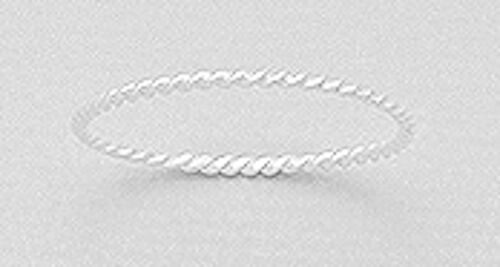 1mm Wide Solid Sterling Silver White SKINNY Rope Ring size 8 SHINY 0.43g