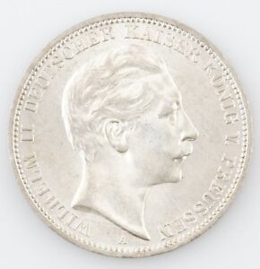 1912 A GERMAN STATES 3 MARK PRUSSIA DREI GERMANY COIN UNCIRCULATED