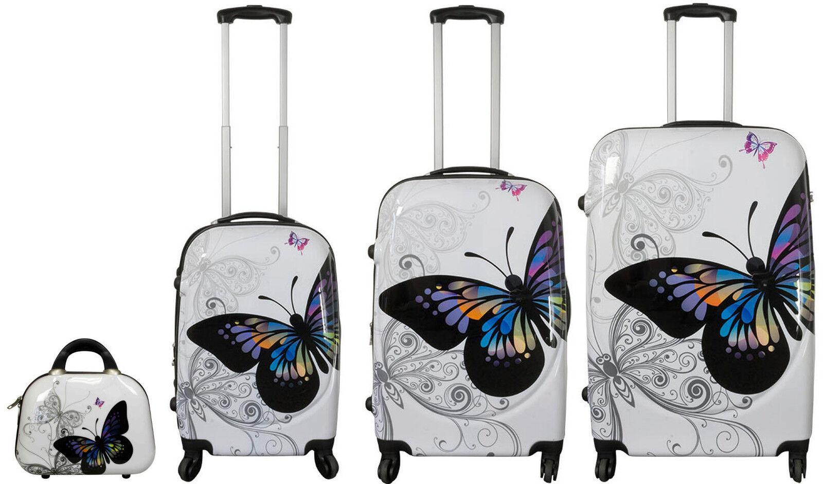 Valigia trolley carbonato rigido leggero 4 ruote bagaglio a mano borsa Butterfly