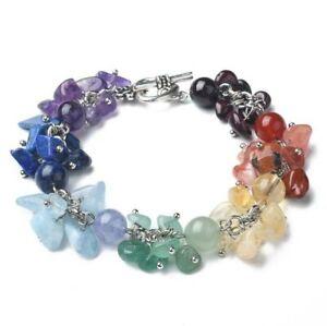 Chakra Bracelet Crystal Gemstone Love Reiki Healing Anxiety Heart Charm Silver