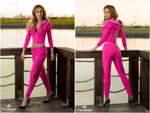 38  Rosa 36 FOGGI Damen 2 Teiler Jacke mit Hose Komplett 34 Pink