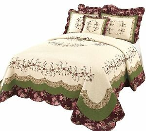 Beautiful ivory green pink rose textured oversize vintage bedspread