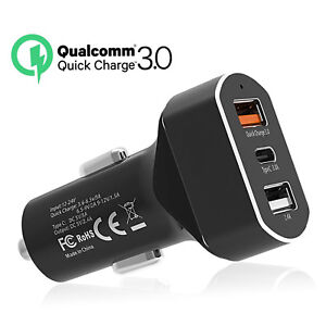 on sale 7437b 1b2c7 3 Port USB Fast Car Charger 30W Quick Charge 3.0 for Apple iPhone X ...