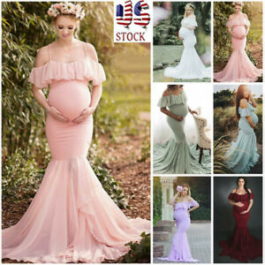 Us Pregnant Womens Lace Short Sleeve Long Maxi Maternity Dress Photography Props Ebay
