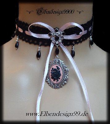 ^v^Halsschmuck*Gothic*Halsband*Lolita*schwarze Spitze*rosa Satin*Burlesque^v^