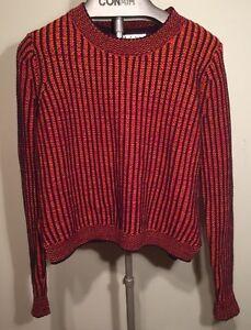 Cabi-Sweater-Melange-891-Lava-Stripe-100-Cotton-Size-M-Ladies-Womens-H10