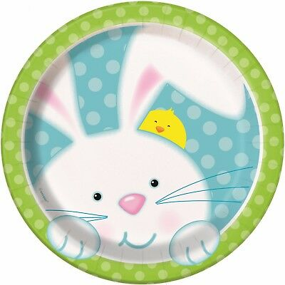 Easter Party Bunny Rabbit Chick Egg Small Round Dessert Paper Plates Birthday