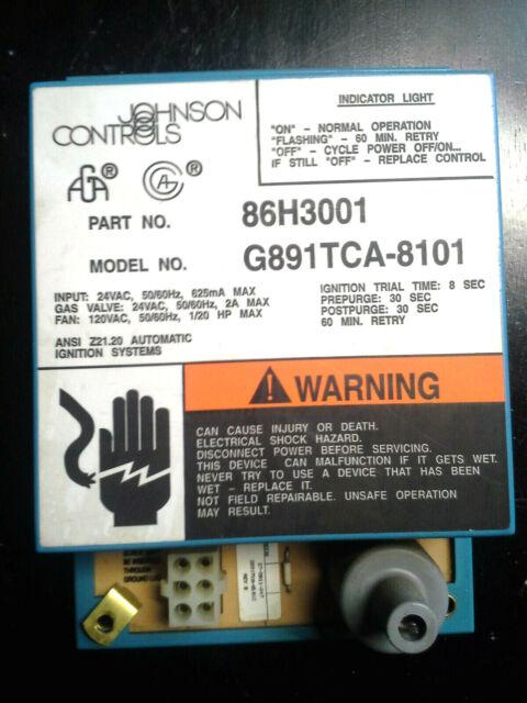 Johnson Controls Ignition Module 86H3001 G891TCA-8101