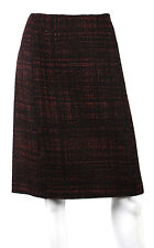 PRADA $730 NWT Fall 2011 Maroon & Black Shetland Tweed A-Line Skirt 46